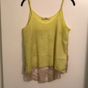 Bright yellow tank with a lace back